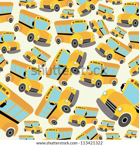 School bus pattern illustration background. Vector illustration layered for easy manipulation and custom coloring.
