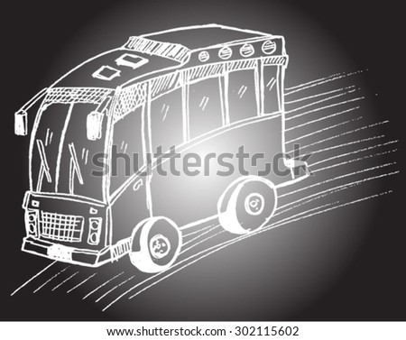 school bus, sketch - stock vector