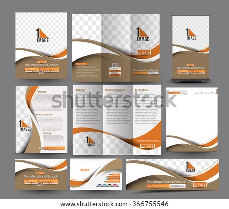 School Business Stationery Set Template. - stock vector