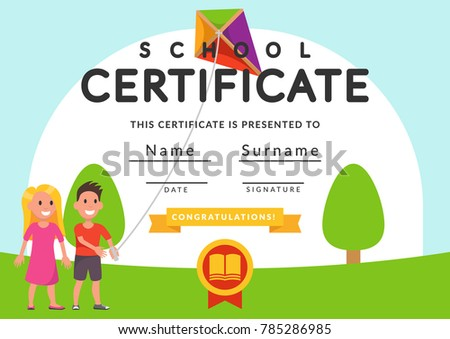 school certificate template kids kindergarten students stock vector