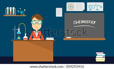 School chemistry teacher in classroom. Flat design. Vector illustration. - stock vector