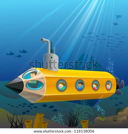 School Children Enjoying Pencil Submarine Ride Under The Sea - stock vector