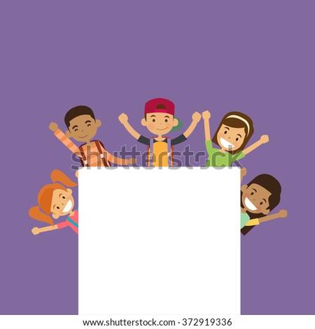 School Children Group With Empty Copy Space Vector Illustration - stock vector