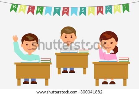 School children in classroom at lesson.  - stock vector