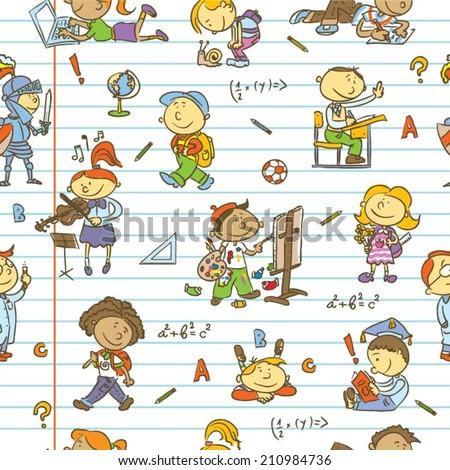 School children pattern - stock vector