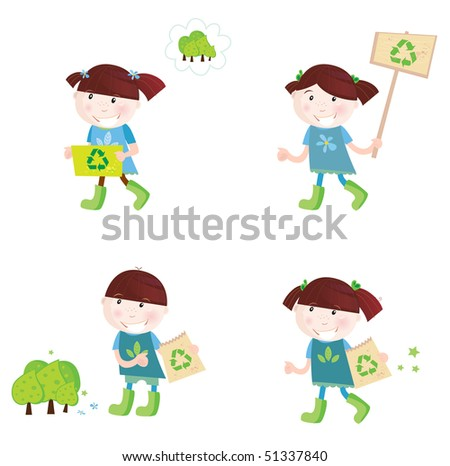 School children support recycling. Four cute children with recycle symbols. Vector cartoon illustration. - stock vector