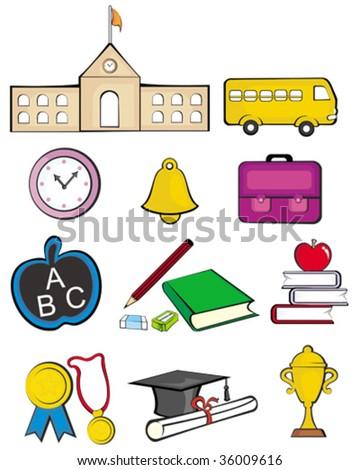 School clipart icons - stock vector