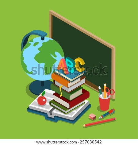 School college university education flat 3d web isometric infographic concept vector. Chalkboard globe heap books ABC apple set of objects. - stock vector