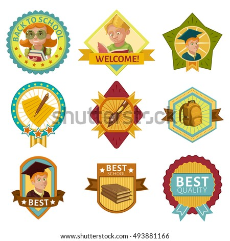 School colored badges set with students stack of books and backpack stars and rays isolated vector illustration