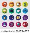 School colorful icon set - stock photo