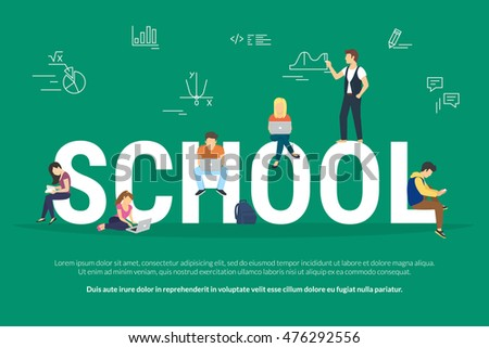 School concept illustration of young students using laptop and smartphones for elearning and education. Flat people standing and sitting near letters school with educational symbols