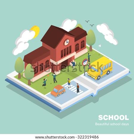 school concept in 3d isometric flat design - stock vector