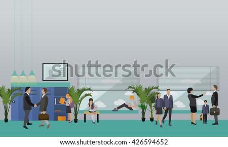 School concept vector banner. School interior, pupils studying in classroom, teachers. - stock vector
