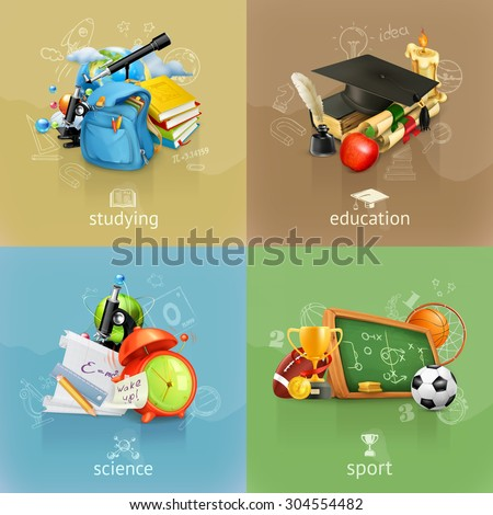 School concepts, vector set - stock vector