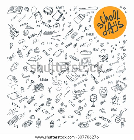 School days vector icons hand drawn set. Doodle collection for design.