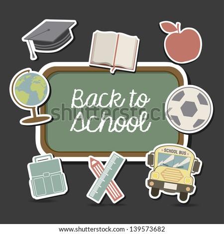school design over black background vector illustration - stock vector