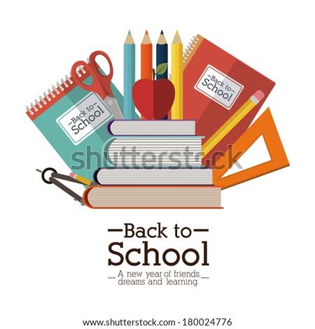 school design over white background vector illustration - stock vector