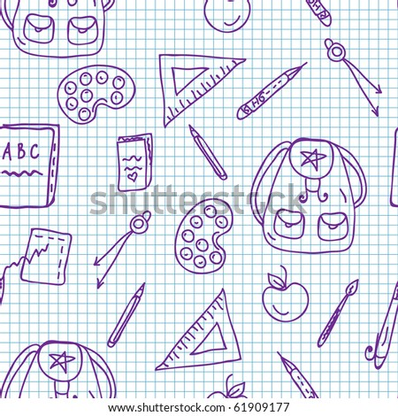 School doodle seamless pattern on the paper - stock vector