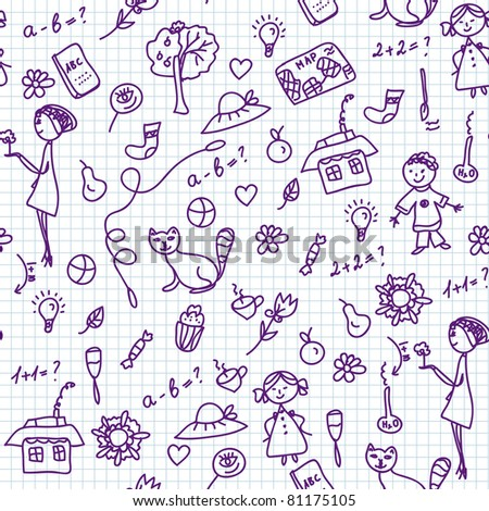 School doodle seamless pattern with children - stock vector