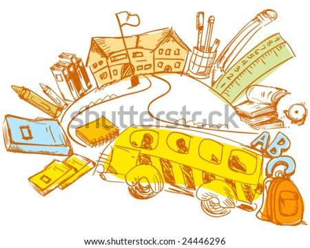 School Doodle - Vector - stock vector