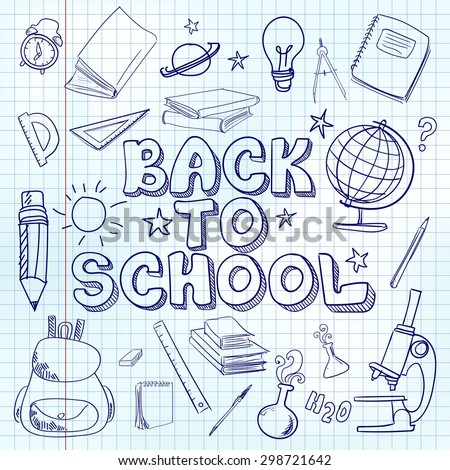 School doodles in exercise book. Back to school vector illustration.