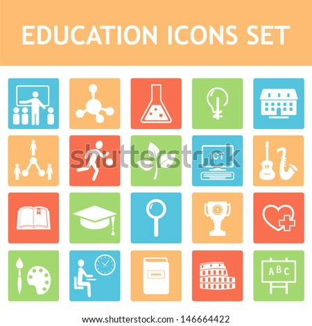 School, Education, Curriculum Icons Set  - stock vector