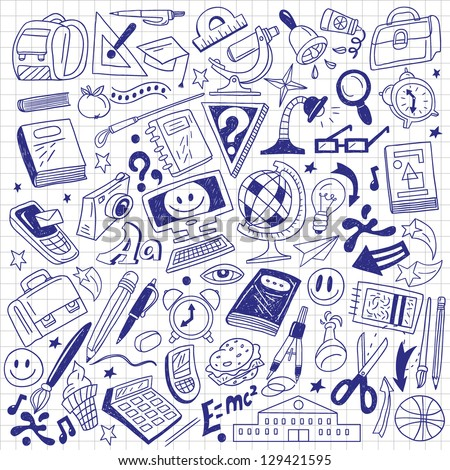 School Education Doodles Stock Vector 129421595 Shutterstock