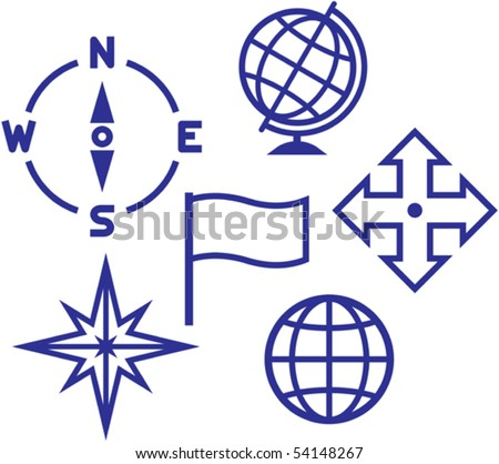 School education geography icons - vector illustrations - stock vector