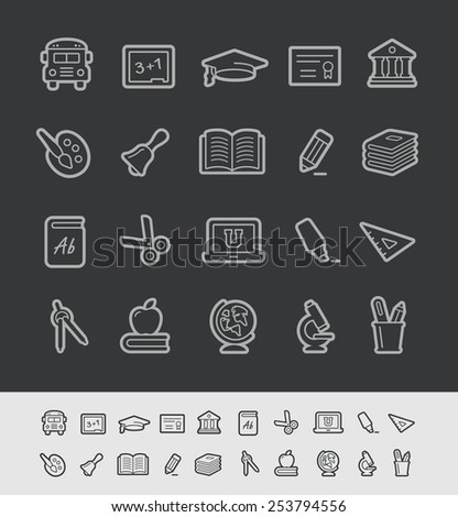 School & Education Icons // Black Line Series -- EPS 10+ Contain Transparencies - stock vector