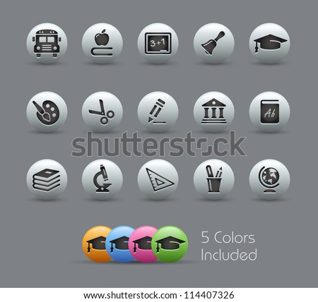 School & Education Icons // Pearly Series -------It includes 5 color versions for each icon in different layers --------- - stock vector