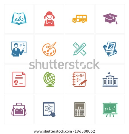 School & Education Icons Set 1 - Colored Series - stock vector