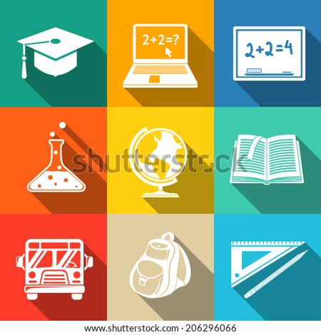 School (education) modern flat icons set on color squares with - globe, notebook, blackboard, backpack, text book, graduation cap, school bus, science bulb, pencil and ruler. - stock vector