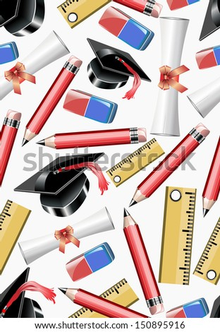 School education - seamless background - stock vector