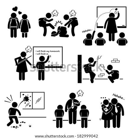 School Education Social Problem Student Teacher Stick Figure Pictogram Icon Clipart
