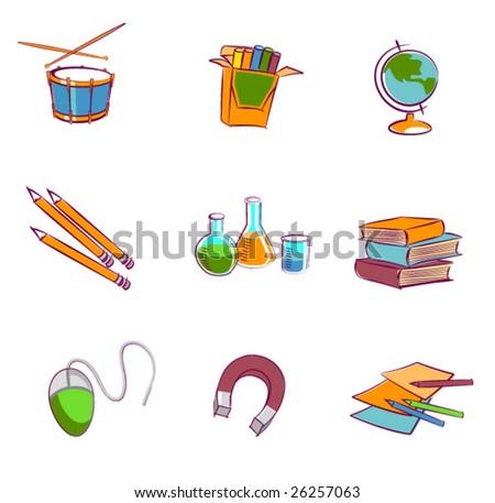 school elements - stock vector