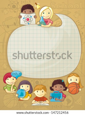 School Frame With Children - stock vector