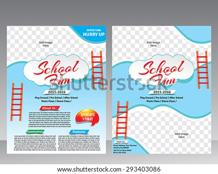 School fun flyer & magazine design template vector illustration  - stock vector