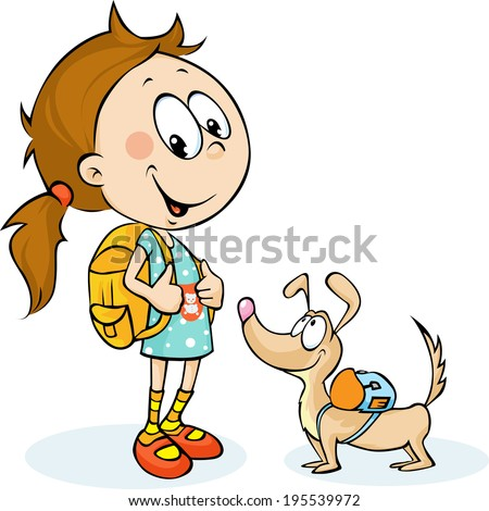 school girl and dog with schoolbag - vector illustration - stock vector