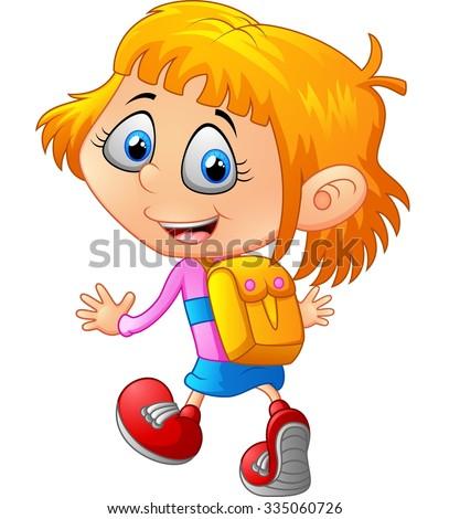 School girl cartoon walking - stock vector