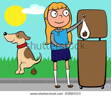 School girl throwing out dog's poo into a waste basket, vector illustration - stock vector