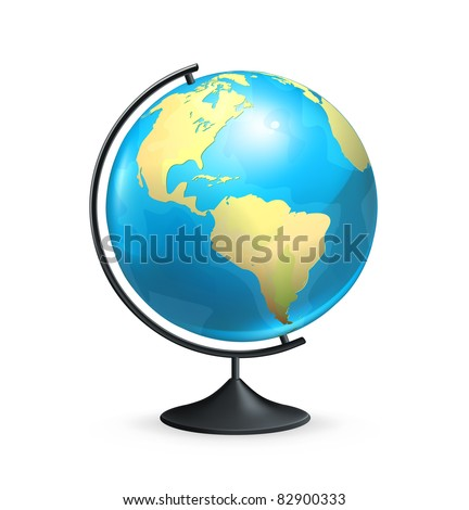 School globe, vector - stock vector