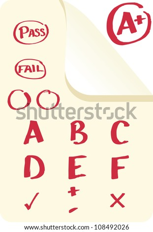 School grades and examination marks in A+, F format as well as pass and fail in vector - stock vector