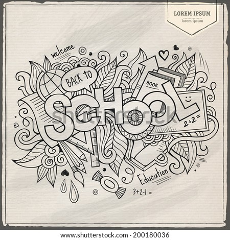 School hand lettering and doodles elements background. Vector illustration - stock vector