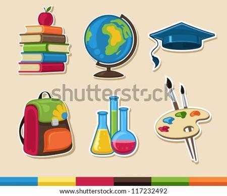 school icons - stock vector