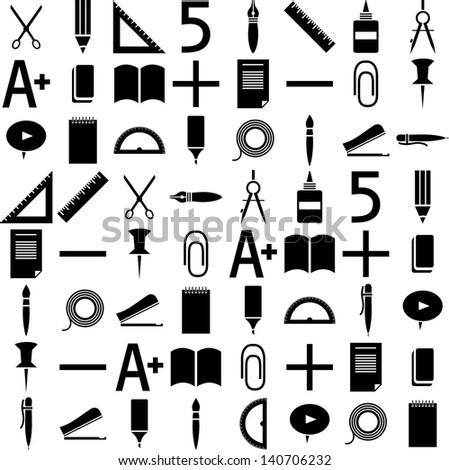 school icons. Black background - stock vector