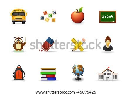 School icons, part 1 - stock vector