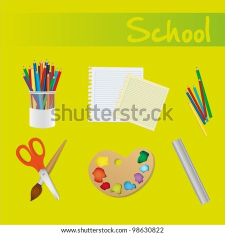 school icons set over green background - stock vector