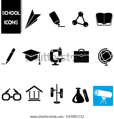 school icons set, science icons