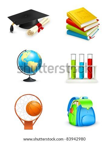 School icons, vector - stock vector