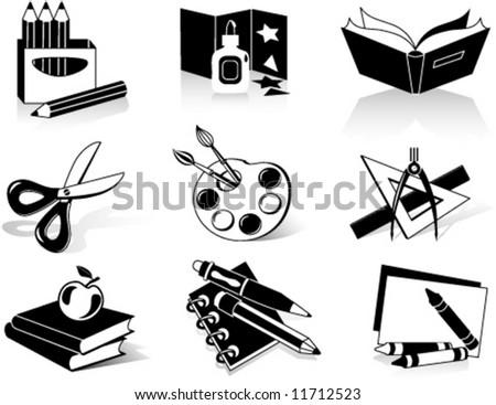 School icons. Vector illustration - stock vector